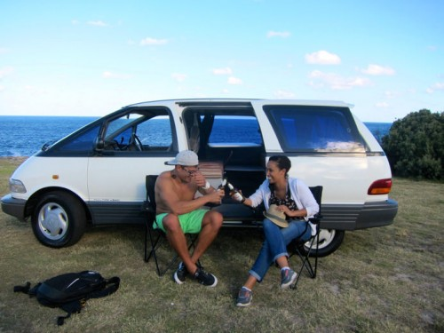 Toyota Tarago used campervan for sale - cheers and drinking some beers by the beach