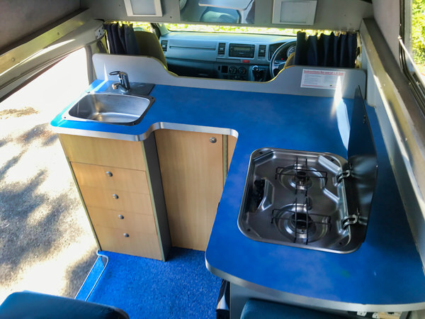 Toyota Hiace Campervan for sale - photo of the practical kitchen